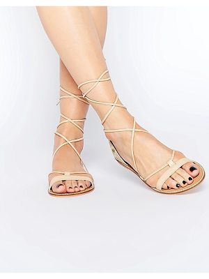 Asos FATE Leather Embroidered Tie Leg Sandals