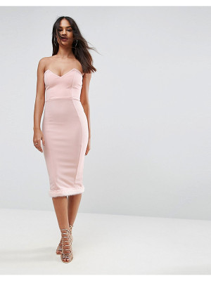 ASOS Faux Fur Hem Bandeau Midi Dress