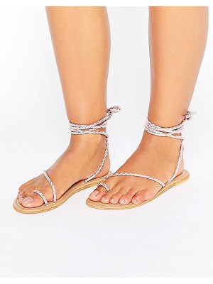 ASOS Fire Fly Leather Lace Up Flat Sandals