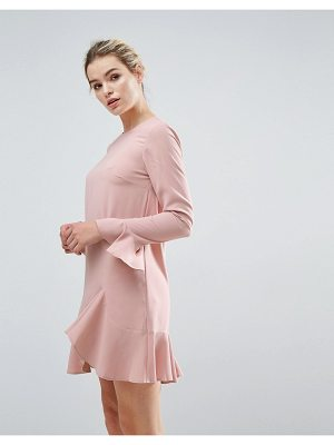 ASOS Fluted Sleeve Ruffle Hem Mini Dress