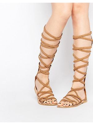 ASOS Foley Knee High Plaited Suede Sandals