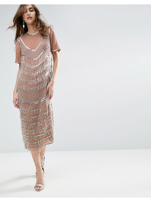 Asos GOLD Embellished Fringe Midi Shift Dress