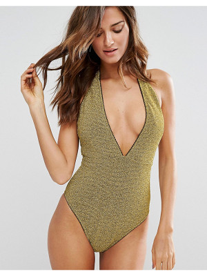 Asos Gold Metallic Picot Trim Plunge Swimsuit