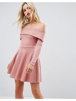 ASOS DESIGN asos premium heavy rib bardot skater dress