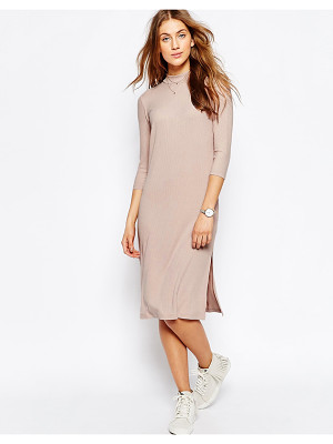 ASOS High Neck Column Dress In Rib