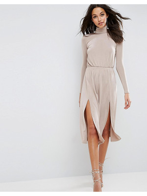 ASOS High Neck Slinky Double Split Dress