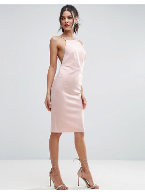 ASOS DESIGN asos high neck strappy scuba midi bodycon dress