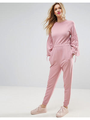 ASOS Jumpsuit In Sweat With Flared Sleeve And Lace Up Detail