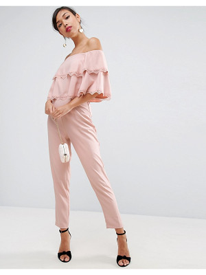 ASOS Jumpsuit With Double Ruffle Bardot And Lace Trim Detail