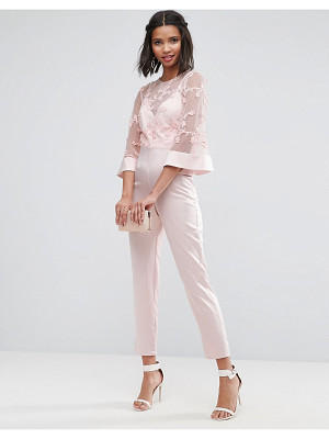 ASOS Jumpsuit With Lace Bodice And Contrast Satin Pant