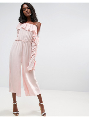 ASOS DESIGN asos jumpsuit with one shoulder and ruched sleeve