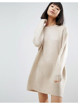 ASOS Knitted Dress With Crew Neck In Fluffy Yarn