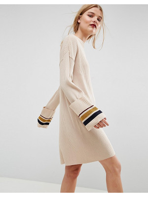 Asos Knitted Dress With Turn Up Cuffs And Tipping