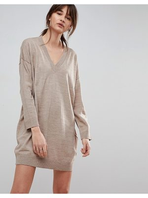 ASOS DESIGN asos knitted mini dress with v neck