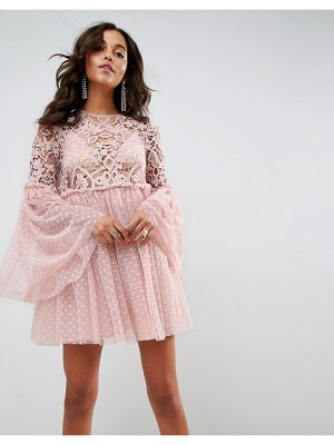 ASOS Lace And Dobby Mesh Fluted Sleeve Mini Smock Dress