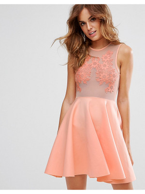 Asos Lace Applique & Mesh Mix Skater Mini Dress