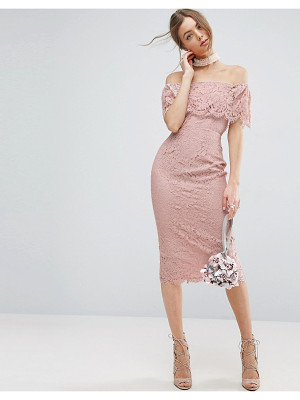 Asos Lace Bardot Midi Pencil Dress