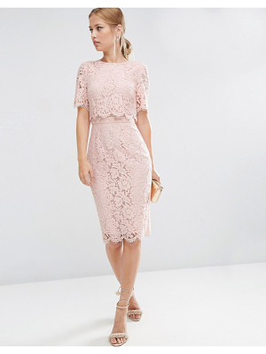 Asos Lace Crop Top Midi Pencil Dress