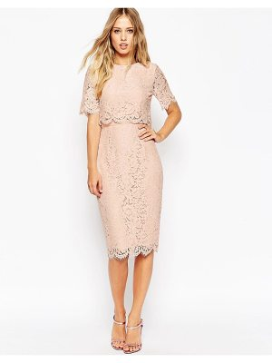 Asos asos lace crop top midi pencil dress