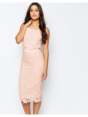 Asos Lace Floral Scallop Midi Dress