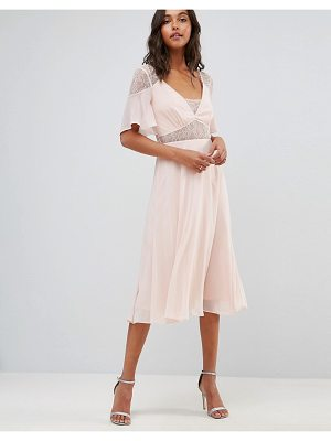 ASOS DESIGN asos lace insert flutter sleeve midi dress