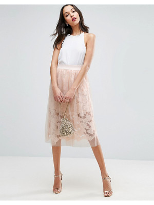 ASOS Lace Prom Skirt With Tulle Overlay