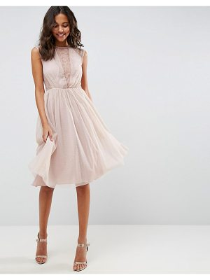 Asos ASOS Lace Tulle Cap Sleeve Midi Dress