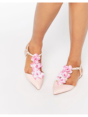 ASOS Leaf Flower Pointed T-Bar Ballet Flats