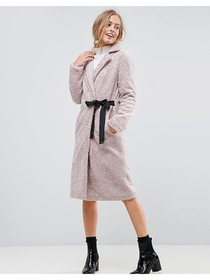ASOS Longline Faux Fur Coat With Side Belt Detail