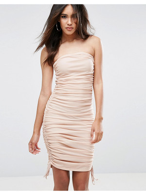 ASOS Mesh Ruched Bandeau Midi Bodycon Dress With Ties