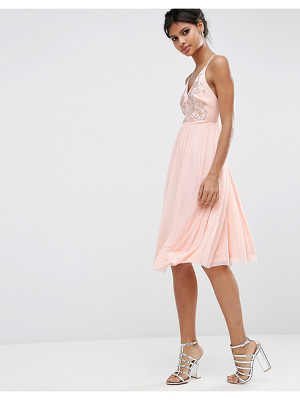 Asos Mesh Skirt Embellished Hotfix Midi Prom Dress