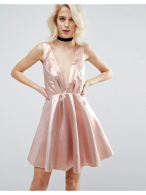 ASOS Metallic Deep Plunge Mini Skater Dress