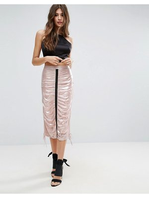 ASOS DESIGN metallic midi skirt with channel detail