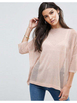 Asos Metallic Sweater with Mesh Detail