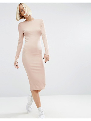 ASOS Midi Bodycon Dress In Rib With Long Sleeves