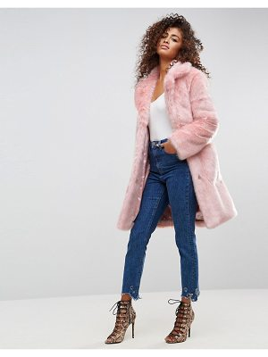 ASOS Midi Coat In Plush Faux Fur
