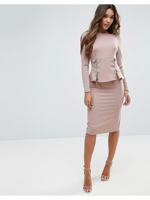 ASOS Midi Dress With Corset Peplum Detail