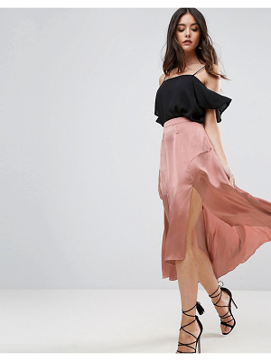 ASOS Midi Satin Skirt With Splices And Seam Detail