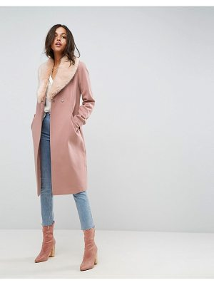 Asos Midi Skater Coat with Luxe Faux Fur Trim