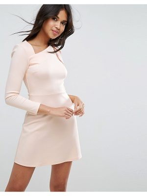 Asos Mini Scuba Dress with One Sleeve and Bow Shoulder Detail