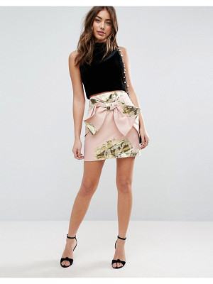 ASOS Mini Skirt In Metallic Jacquard With Bow Detail