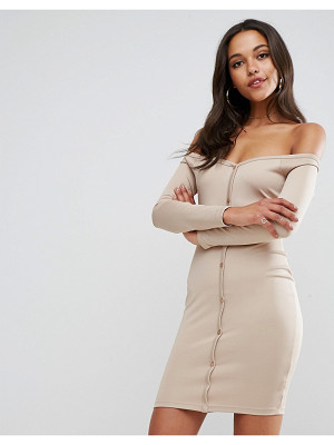 ASOS Off Shoulder Button Through Mini Bodycon Dress In Soft Touch Jersey