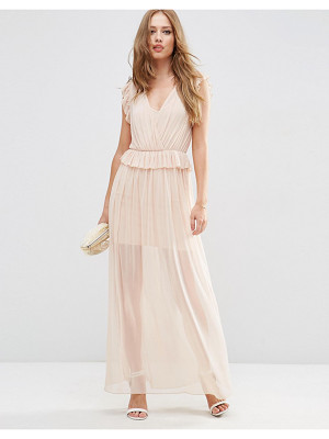 Asos Occasion Mesh Ruffle Maxi Dress
