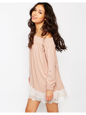 ASOS Off Shoulder Dress In Crepe With Eyelash Lace Hem