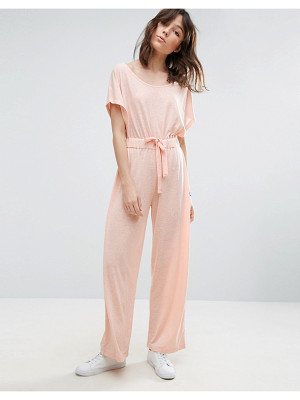 ASOS Off Shoulder Jersey Jumpsuit In Slouchy Burnout