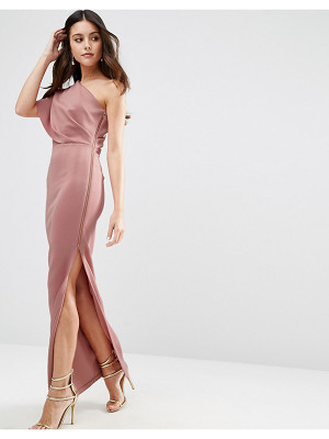 ASOS One Shoulder Scuba Deep Fold Maxi Dress With Exposed Zip