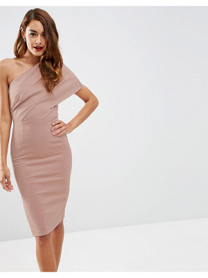 Asos One Shoulder Scuba Deep Fold Midi Dress with Exposed Zip