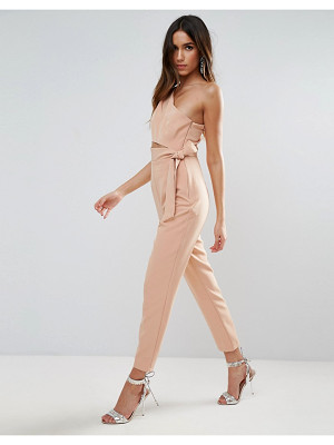 ASOS DESIGN asos one shoulder jumpsuit with knot detail