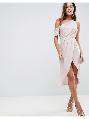 Asos One Shoulder Midi Dress in Hammered Satin