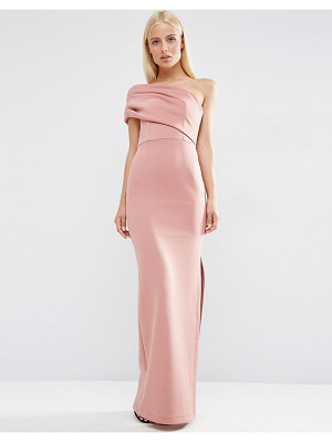 ASOS One Shoulder Bardot Scuba Maxi Dress With Exposed Zip